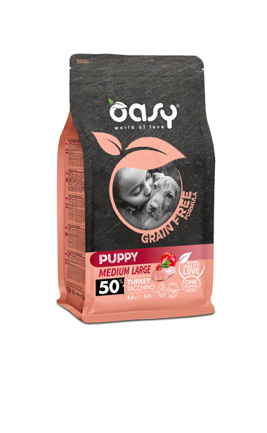 OASY PUPPY MEDIUM / LARGE TACCHINO GRAIN FREE 2,5 KG