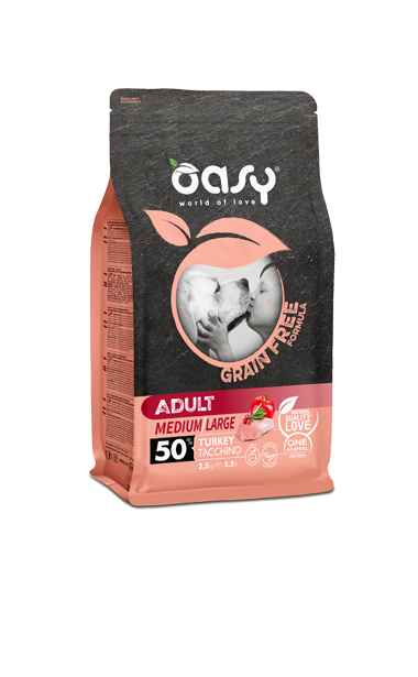 OASY ADULT MEDIUM / LARGE TACCHINO GRAIN FREE 2,5 KG