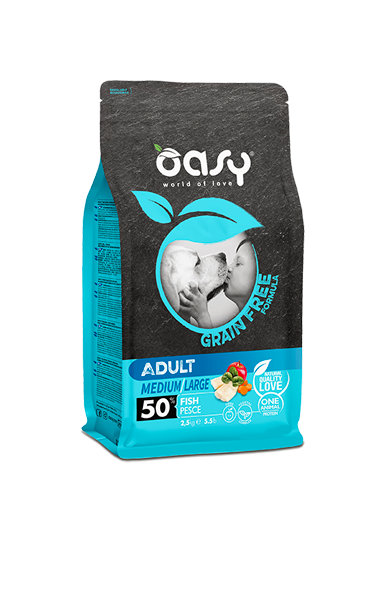 OASY ADULT MEDIUM / LARGE PESCE GRAIN FREE 2,5 KG