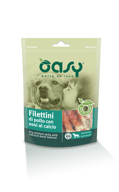 Oasy Dog Snack filettini Di Pollo Con Ossi Al Calcio 100 gr