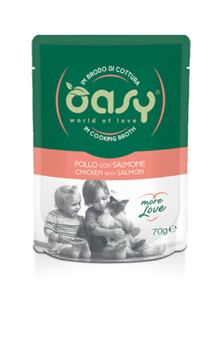 Oasy Cat Pollo Con Salmone In Brodo Di Cottura 70 GR