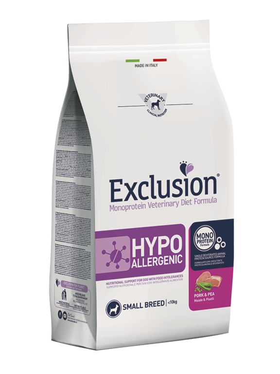 EXCLUSION ADULT HYPOALLERGENIC SMALL BREEDS MAIALE E PISELLI SACCO 2 KG