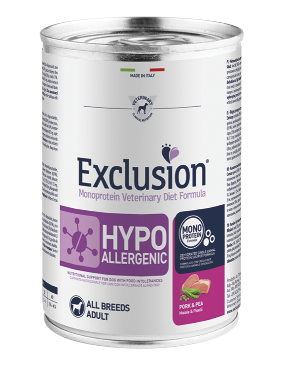 EXCLUSION HYPOALLERGENIC ADULT MAIALE E PISELLI BARATTOLO 400 GR