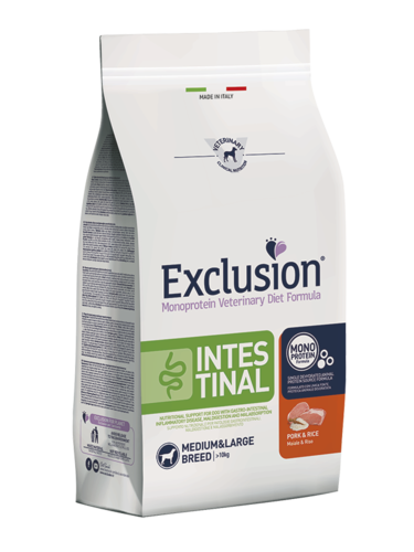 EXCLUSION INTESTINAL ADULT MEDIUM BREEDS MAIALE E RISO SACCO 12 KG