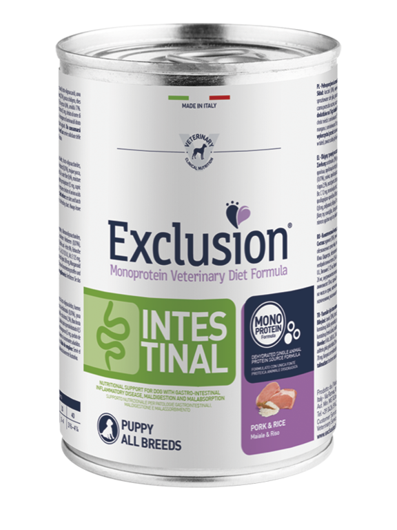 EXCLUSION INTESTINAL PUPPY ALL BREEDS MAIALE E RISO BARATTOLO 400 GR