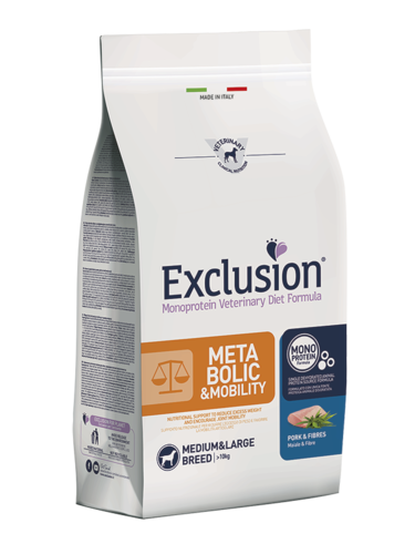 EXCLUSION METABOLIC & MOBILITY ADULT MEDIUM BREEDS MAIALE E FIBRE SACCO 12 KG