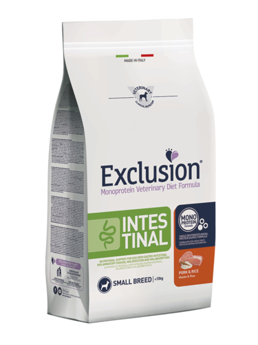 EXCLUSION INTESTINAL ADULT SMALL BREEDS MAIALE E RISO SACCO 7 KG